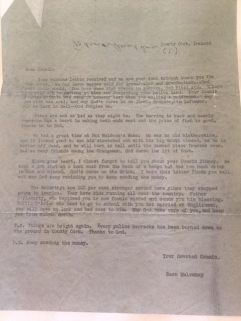 Dubious Old Irish Family Letter
